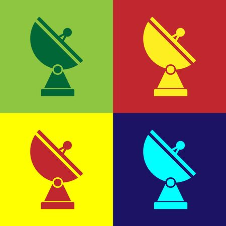 Color Radar icon isolated on color background. Military search system. Vector Illustration