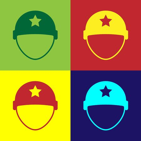 Color Military helmet icon isolated on color background. Army hat symbol of defense and protect. Protective hat. Vector Illustration