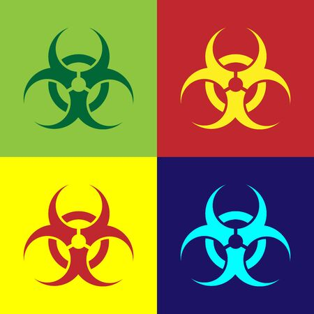 Color Biohazard symbol icon isolated on color background. Vector Illustration