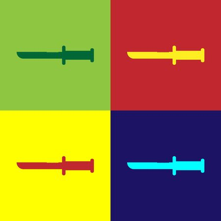 Color Military knife icon isolated on color background. Vector Illustration