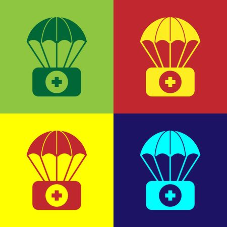 Color Parachute with first aid kit icon isolated on color background. Medical insurance. Vector Illustration