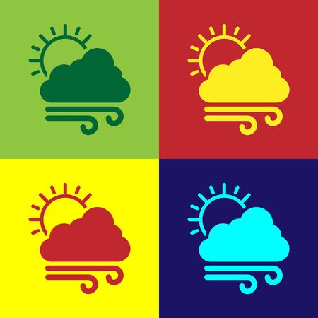 Color Windy weather icon isolated on color background. Cloud with sun and wind. Vector Illustration Ilustracja