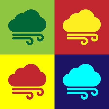 Color Windy weather icon isolated on color background. Cloud and wind. Vector Illustration