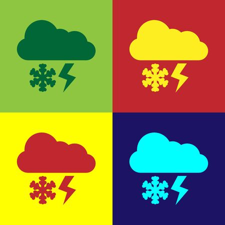 Color Cloud with snow and lightning icon isolated on color background. Cloud with snowflakes. Single weather icon. Snowing sign. Vector Illustration