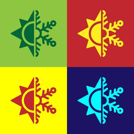 Color Hot and cold symbol. Sun and snowflake icon isolated on color background. Winter and summer symbol. Vector Illustration