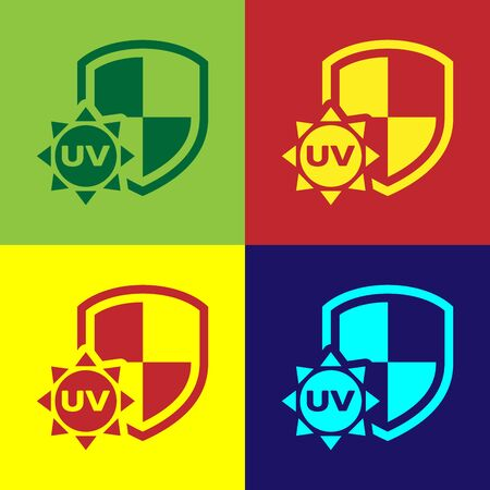 Color UV protection icon isolated on color background. Sun and shield. Ultra violet rays radiation. SPF sun sign. Vector Illustration