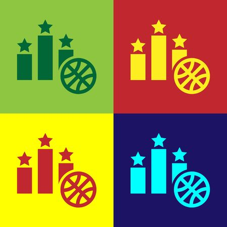 Color Basketball over sports winner podium icon isolated on color background. Vector Illustration 向量圖像