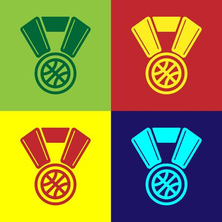Color Basketball medal with ribbon icon isolated on color background. Vector Illustration