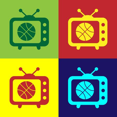 Color Basketball match on tv program icon isolated on color background. Vector Illustration