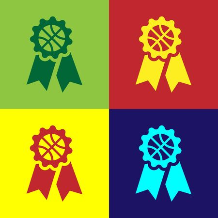 Color Basketball award icon isolated on color background. Vector Illustration