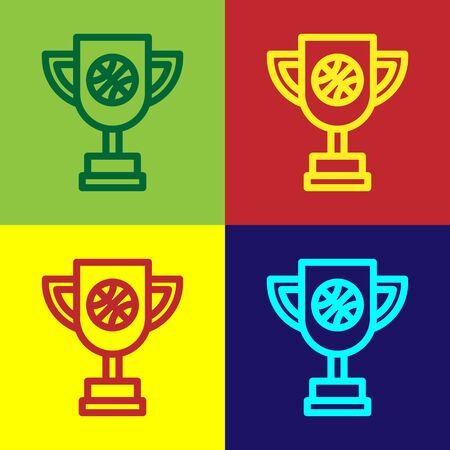 Color Award cup with basketball ball icon isolated on color background. Winner trophy symbol. Championship or competition trophy. Vector Illustration