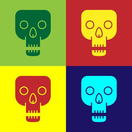 Color Skull icon isolated on color background. Happy Halloween party. Vector Illustration