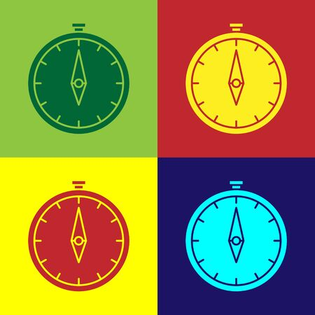 Color Compass icon isolated on color background. Windrose navigation symbol. Wind rose sign. Vector Illustration Illustration