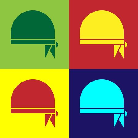 Color Pirate bandana for head icon isolated on color background. Vector Illustration