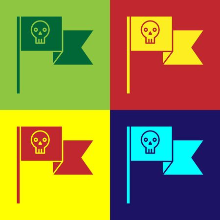 Color Pirate flag with skull icon isolated on color background. Vector Illustration 向量圖像