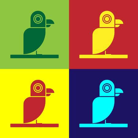 Color Pirate parrot icon isolated on color background. Vector Illustration