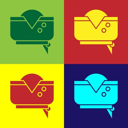 Color Pirate hat icon isolated on color background. Vector Illustration