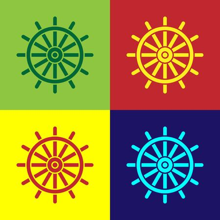 Color Ship steering wheel icon isolated on color background. Vector Illustration