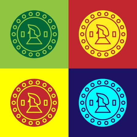 Color Pirate coin icon isolated on color background. Vector Illustration