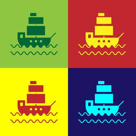 Color Ship icon isolated on color background. Vector Illustration