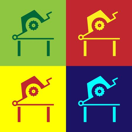 Color Table saw for woodwork icon isolated on color background. Power saw bench. Vector Illustration