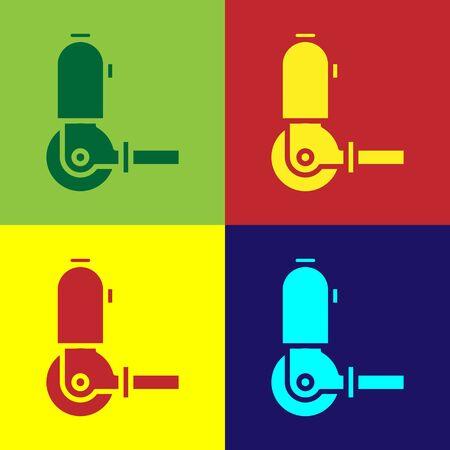 Farbe Winkelschleifer-Symbol auf farbigem Hintergrund isoliert. Vektorillustration