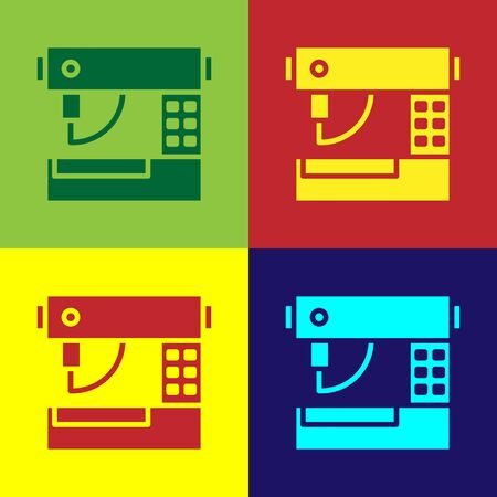Color Sewing machine icon isolated on color background. Vector Illustration