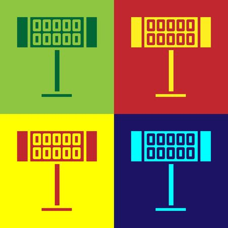 Color Electric heater icon isolated on color background. Infrared floor heater with remote control. House climate control. Vector Illustration