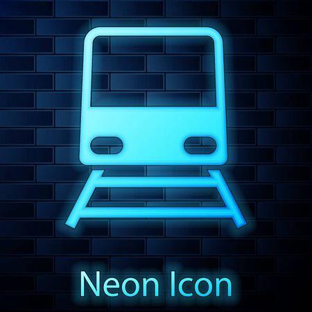 Glowing neon Train icon isolated on brick wall background. Public transportation symbol. Subway train transport. Metro underground. Vector Illustration