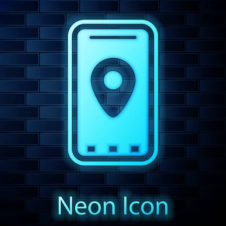 Glowing neon Infographic of city map navigation icon isolated on brick wall background. Mobile App Interface concept design. Geolacation concept. Vector Illustration