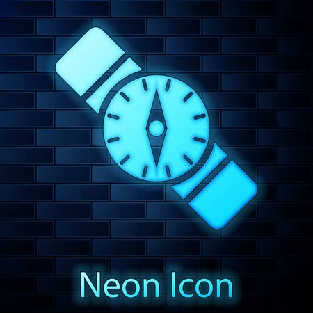 Glowing neon Compass icon isolated on brick wall background. Windrose navigation symbol. Wind rose sign. Vector Illustration