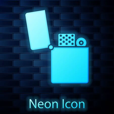Glowing neon Lighter icon isolated on brick wall background. Vector Illustration