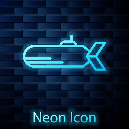 Glowing neon Submarine icon isolated on brick wall background. Military ship. Vector Illustration