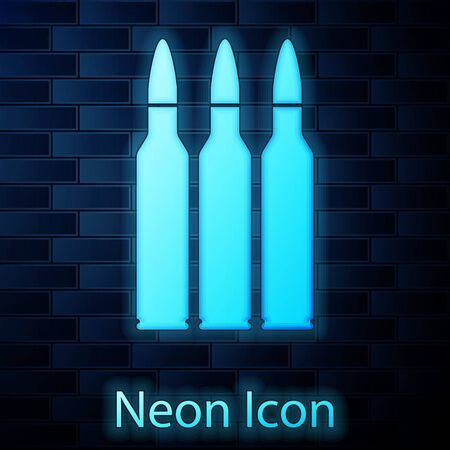 Glowing neon Bullet icon isolated on brick wall background. Vector Illustration