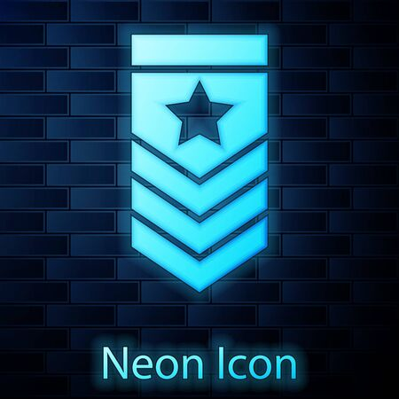 Glowing neon Chevron icon isolated on brick wall background. Military badge sign. Vector Illustration Illustration