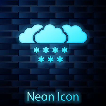 Glowing neon Cloud with snow icon isolated on brick wall background. Cloud with snowflakes. Single weather icon. Snowing sign. Vector Illustration