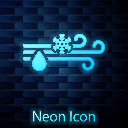 Glowing neon Wind and rain with snow icon isolated on brick wall background. Windy weather. Vector Illustration