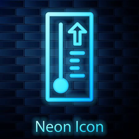 Glowing neon Meteorology thermometer measuring heat and cold icon isolated on brick wall background. Thermometer equipment showing hot or cold weather. Vector Illustration