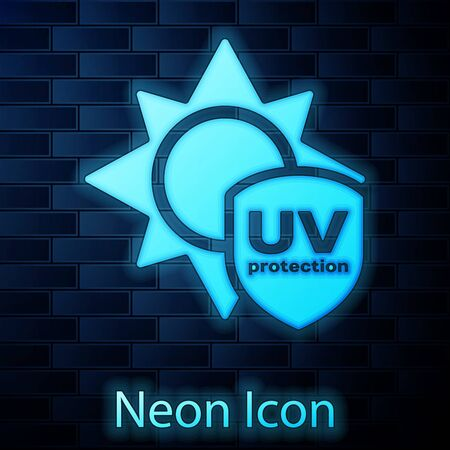 Glowing neon UV protection icon isolated on brick wall background. Sun and shield. Ultra violet rays radiation. SPF sun sign. Vector Illustration