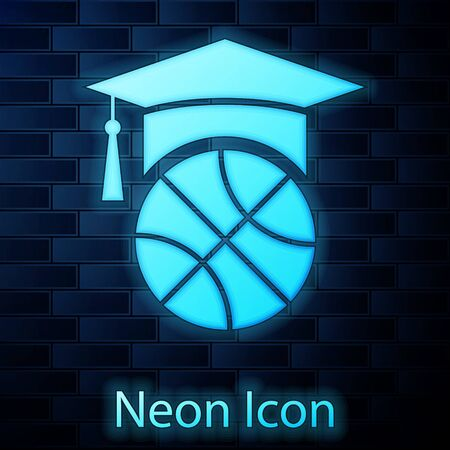 Glowing neon Basketball training icon isolated on brick wall background. Vector Illustration