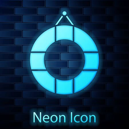 Glowing neon Lifebuoy icon isolated on brick wall background. Lifebelt symbol. Vector Illustration
