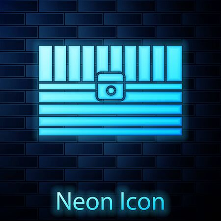 Glowing neon Antique treasure chest icon isolated on brick wall background. Vintage wooden chest with golden coin. Vector Illustration