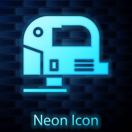 Glowing neon Electric jigsaw with steel sharp blade icon isolated on brick wall background. Power tool for woodwork. Vector Illustration