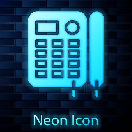 Glowing neon Telephone icon isolated on brick wall background. Landline phone. Vector Illustration Stock Illustratie