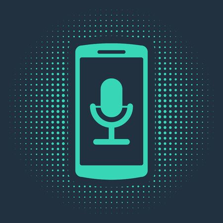 Green Mobile recording icon isolated on blue background. Mobile phone with microphone. Voice recorder app smartphone interface. Abstract circle random dots. Vector Illustration Ilustração