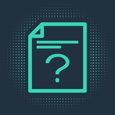Green Unknown document icon isolated on blue background. File with Question mark. Hold report, service and global search sign. Abstract circle random dots. Vector Illustration Stock Illustratie