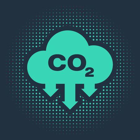 Émissions de CO2 vert dans l'icône de nuage isolé sur fond bleu. Symbole de formule de dioxyde de carbone, concept de pollution par le smog, concept d'environnement. Points aléatoires de cercle abstrait. Illustration vectorielle