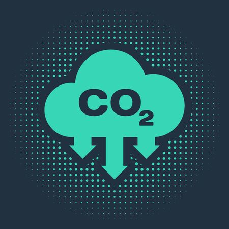 Green CO2 emissions in cloud icon isolated on blue background. Carbon dioxide formula symbol, smog pollution concept, environment concept. Abstract circle random dots. Vector Illustration Vettoriali