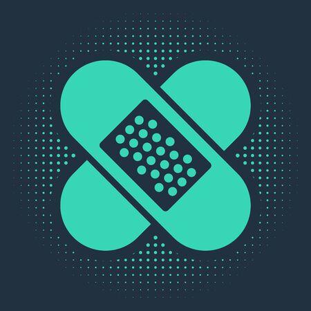 Green Crossed bandage plaster icon isolated on blue background. Medical plaster, adhesive bandage, flexible fabric bandage. Abstract circle random dots. Vector Illustration
