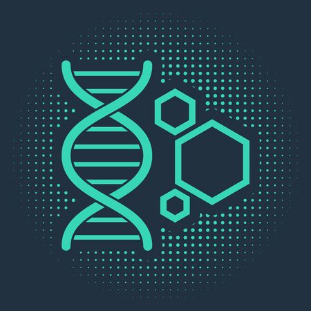 Green Genetic engineering icon isolated on blue background. DNA analysis, genetics testing, cloning, paternity testing. Abstract circle random dots. Vector Illustration Иллюстрация